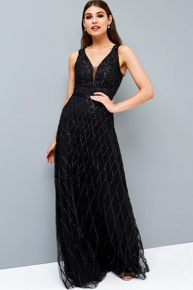 Little Mistress Black Glitter Maxi