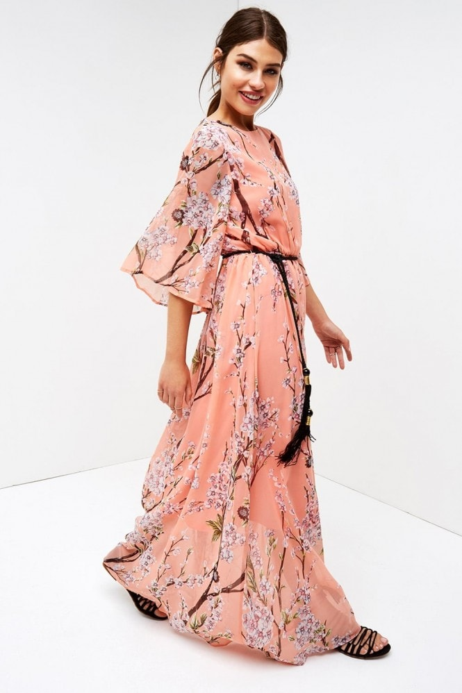 Girls on Film Fluted Sleeve Maxi
