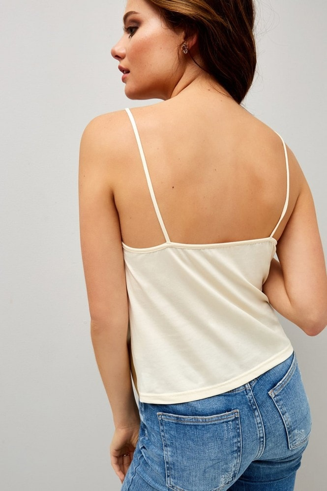 Girls on Film Gold Lace Trim Cami