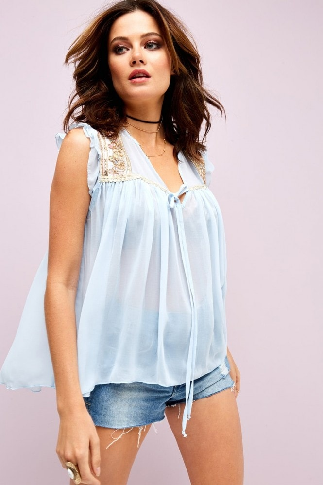 Outlet Girls On Film Blue Tunic Top