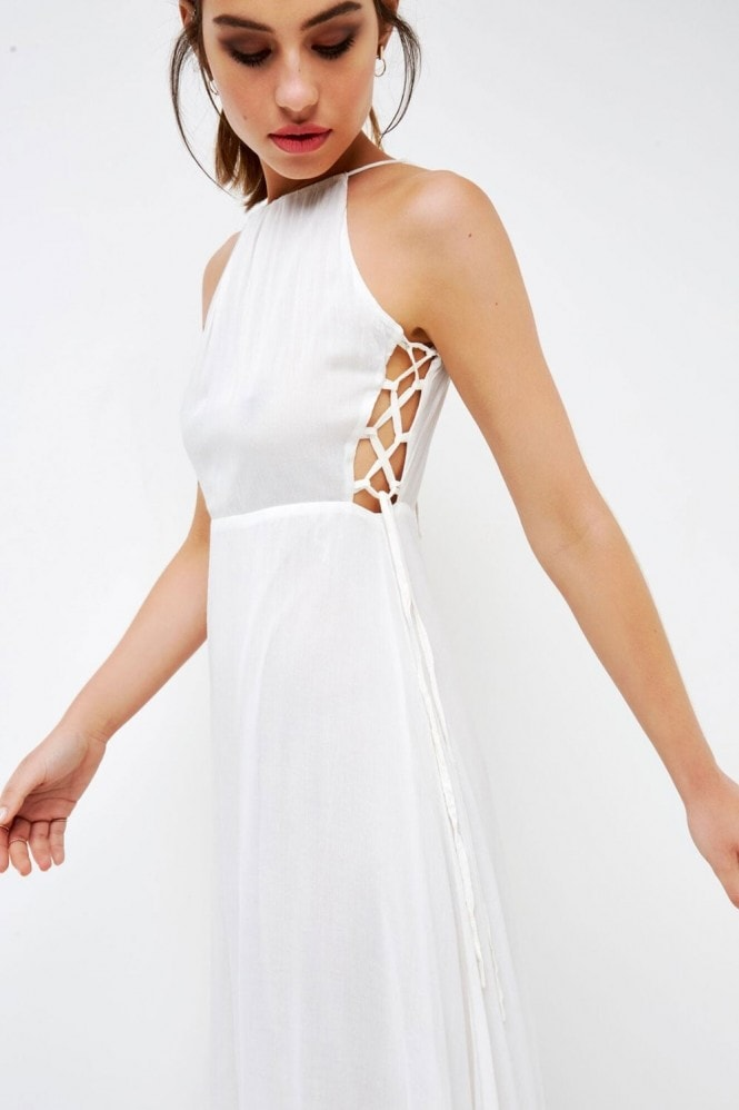 Girls on Film White Halter Side Tie Dress