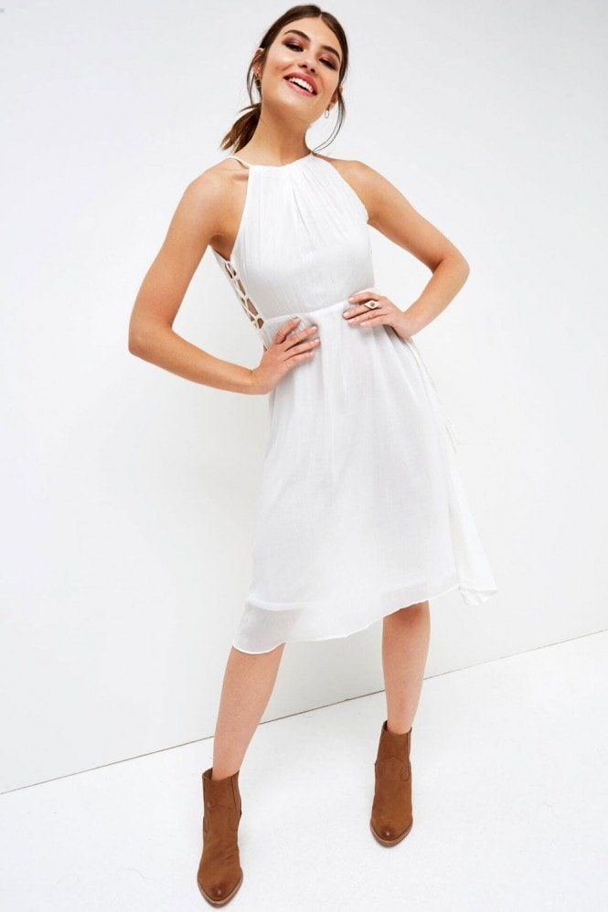 Outlet Girls On Film White Halter Side Tie Dress