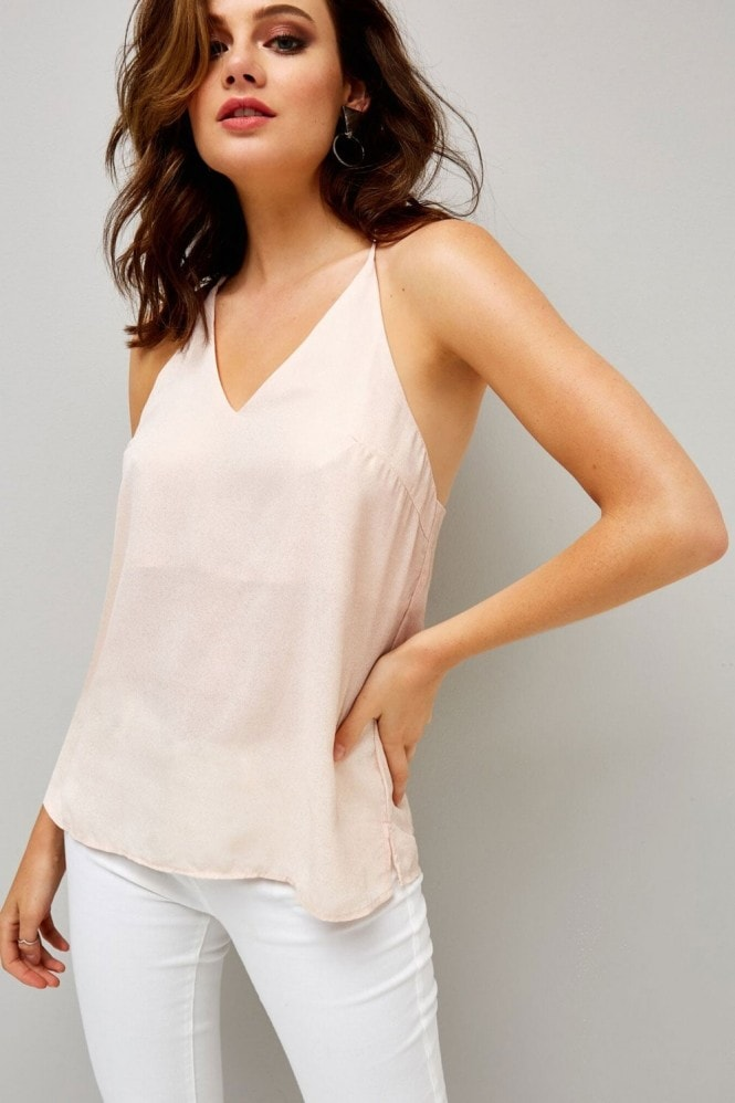 Girls on Film Pink V Neck Tie Cami