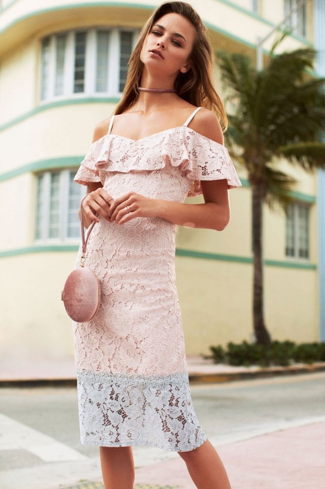 Pink Lace Bodycon Dress