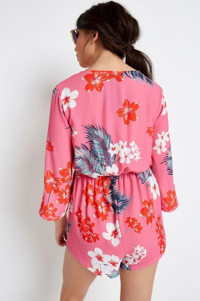 Outlet Girls On Film Pink Tropical Playsuit