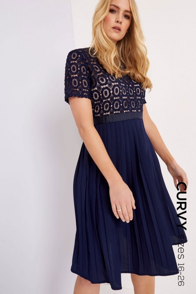 Little Mistress Curvy Navy Crochet Prom