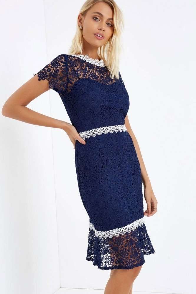 a6dc4dea5a Outlet Paper Dolls Navy Crochet Peplum Hem Dress - Outlet Paper Dolls from  Little Mistress UK