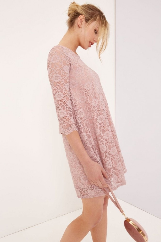 Little Mistress Pink Lace Shift Dress