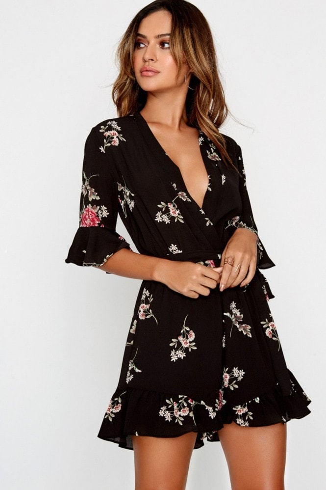 Girls on Film Frill Hem Floral Playsuit