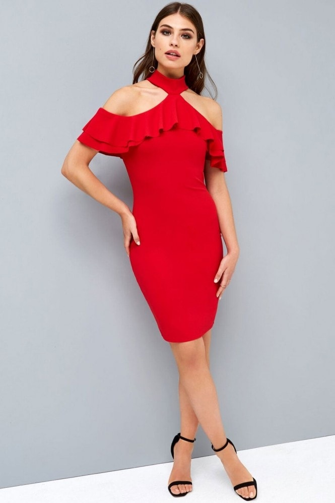 Girls on Film Red Cold Shoulder Bodycon Dress