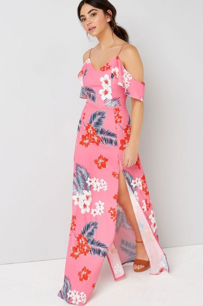 Outlet Girls On Film Pink Tropical Maxi Dress