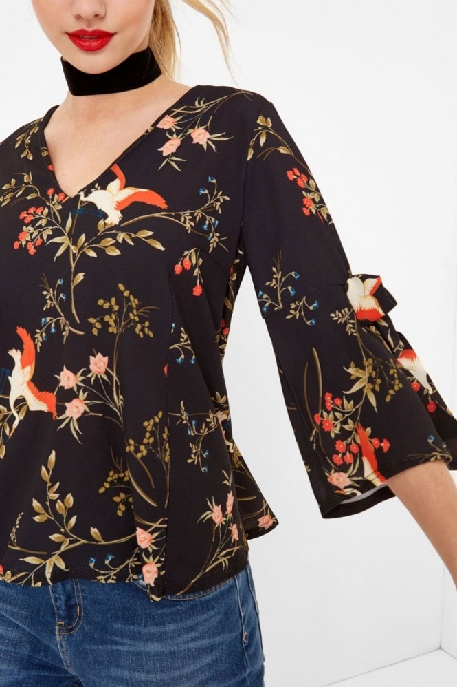 Outlet Girls On Film Bird Print Blouse