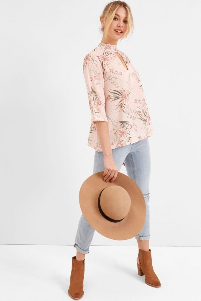 Outlet Girls On Film Pink Botanical Print Choker Top