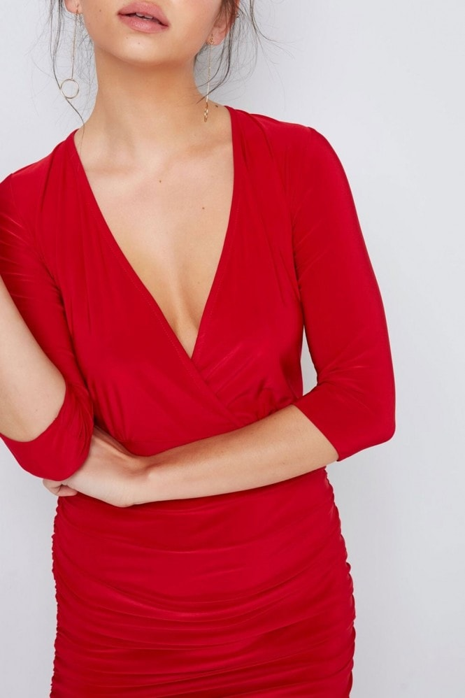 Outlet Girls On Film Red Wrap Bodycon Dress
