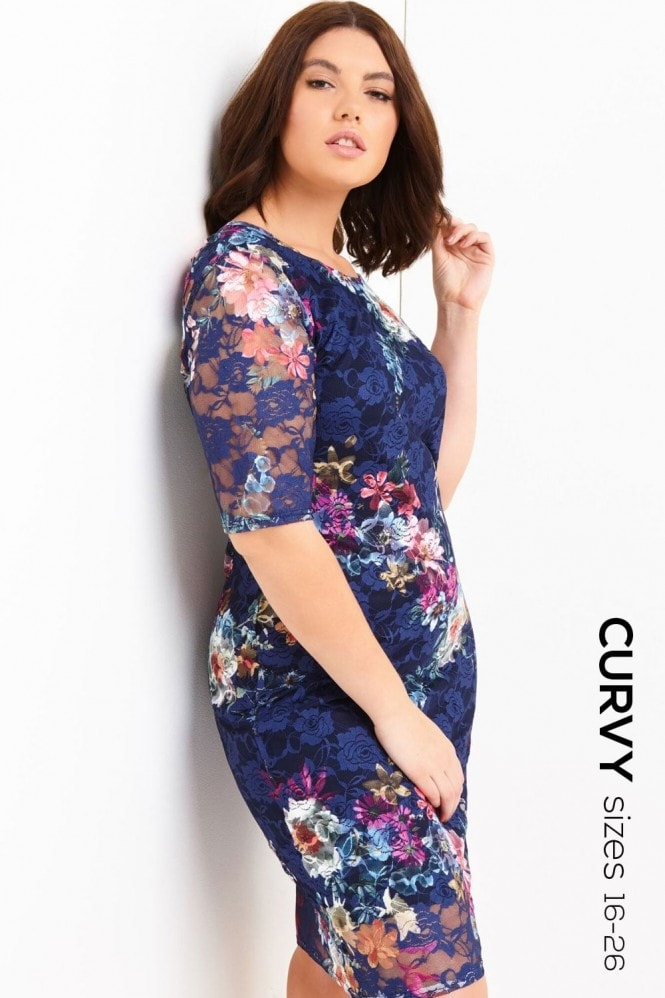 Girls On Film Curvy Floral Print Bodycon Dress