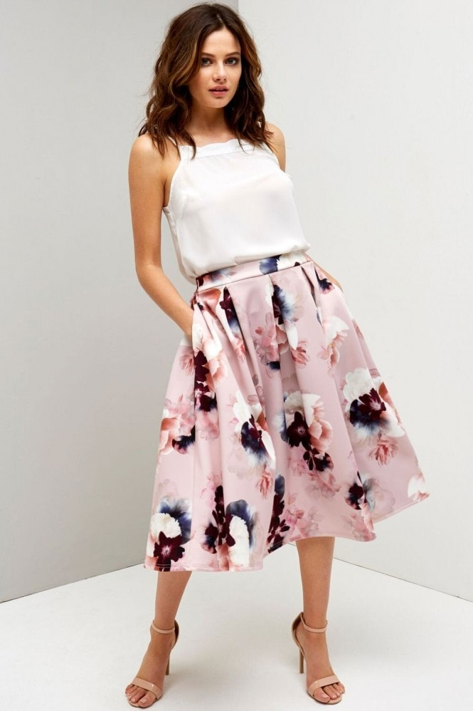 Girls on Film Floral Print Midi Skirt