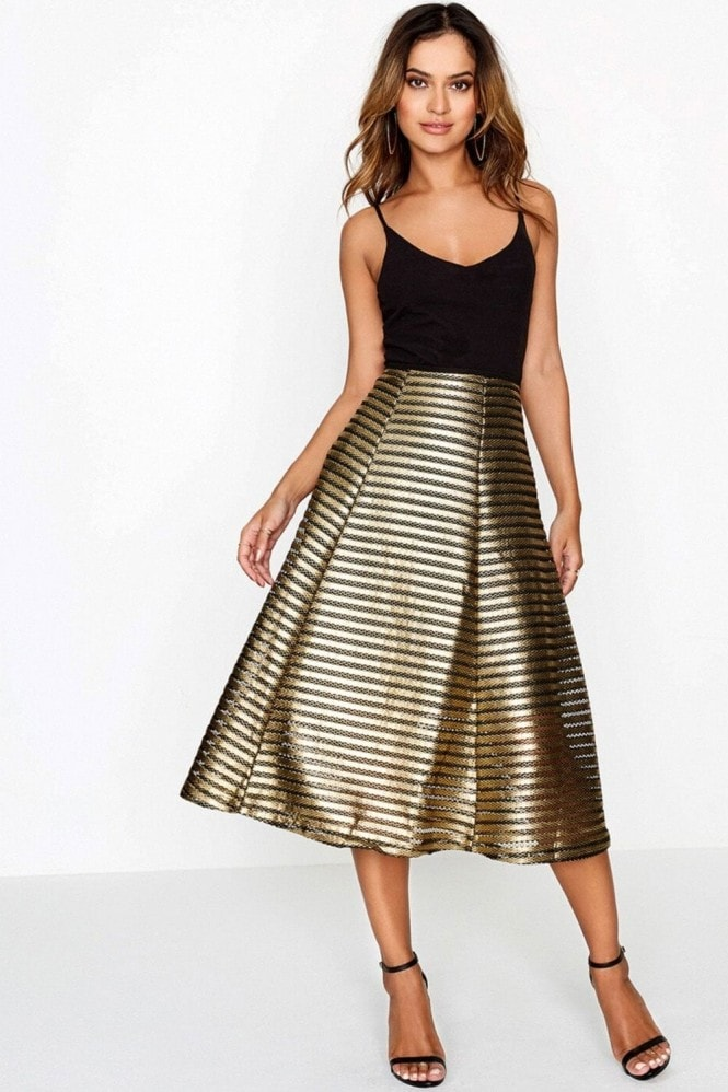 Girls on Film Gold Skirt