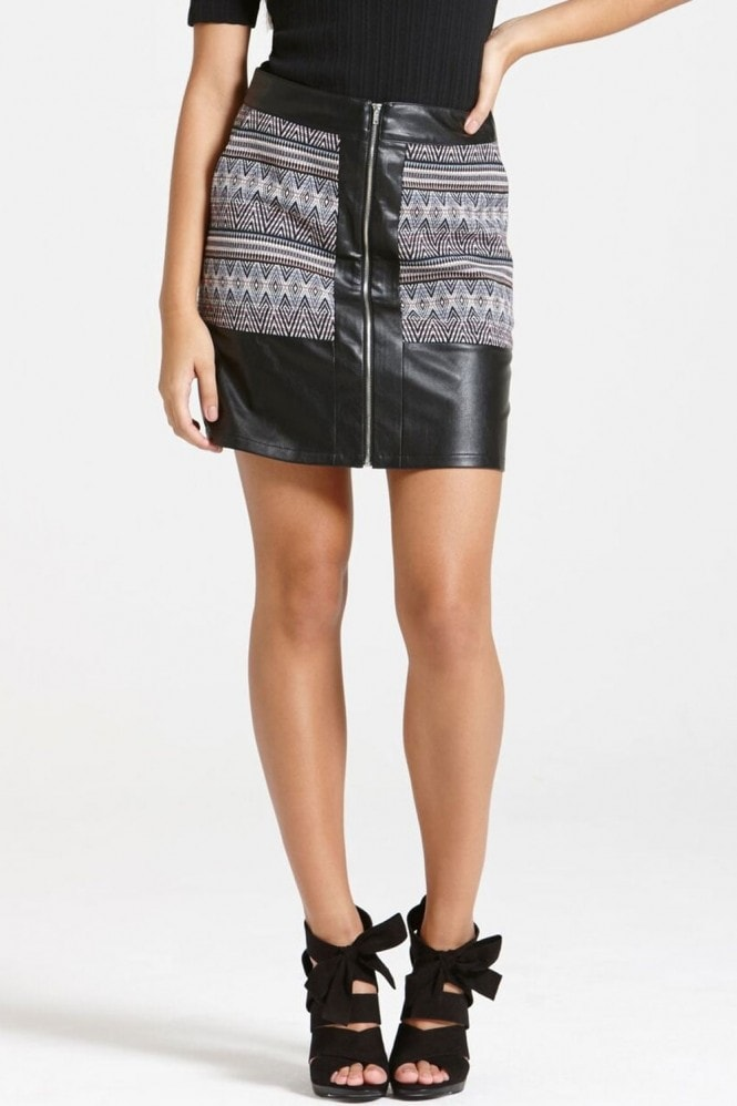 Outlet Girls On Film A Black Faux Leather and Aztec Print Skirt