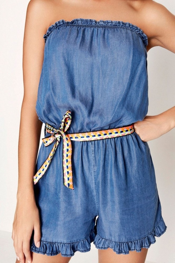 Girls on Film Blue Playsuit