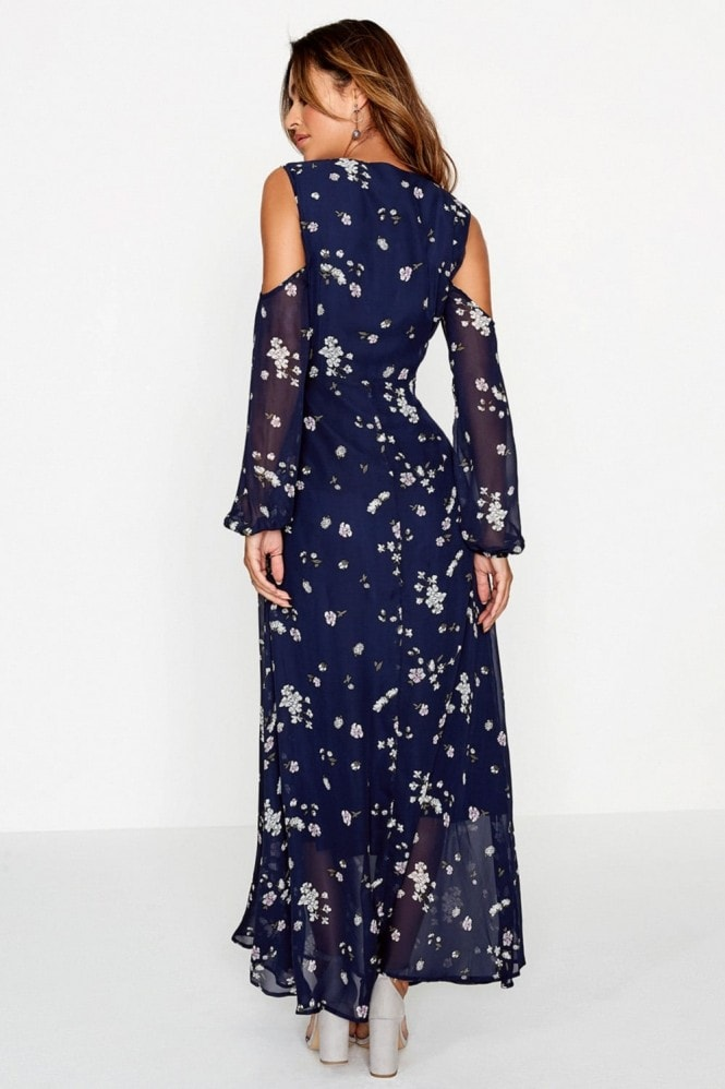 Girls on Film Navy Print Maxi Dress