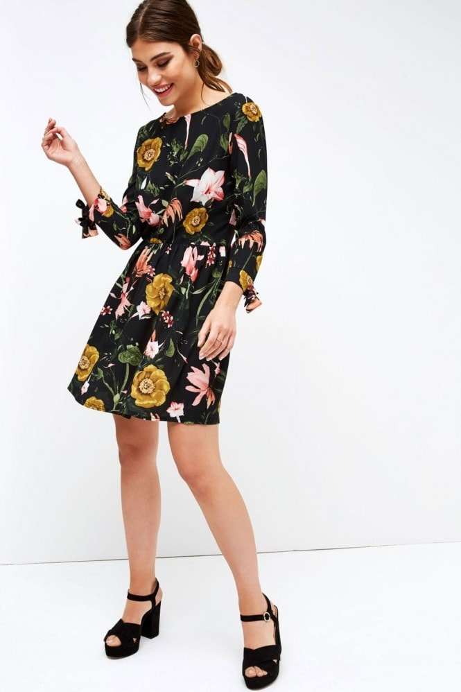 Girls on Film Autumn Floral Print Skater Dress