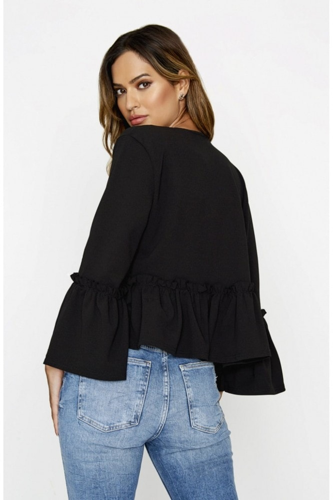 Outlet Girls On Film Black Frill Hem Jacket
