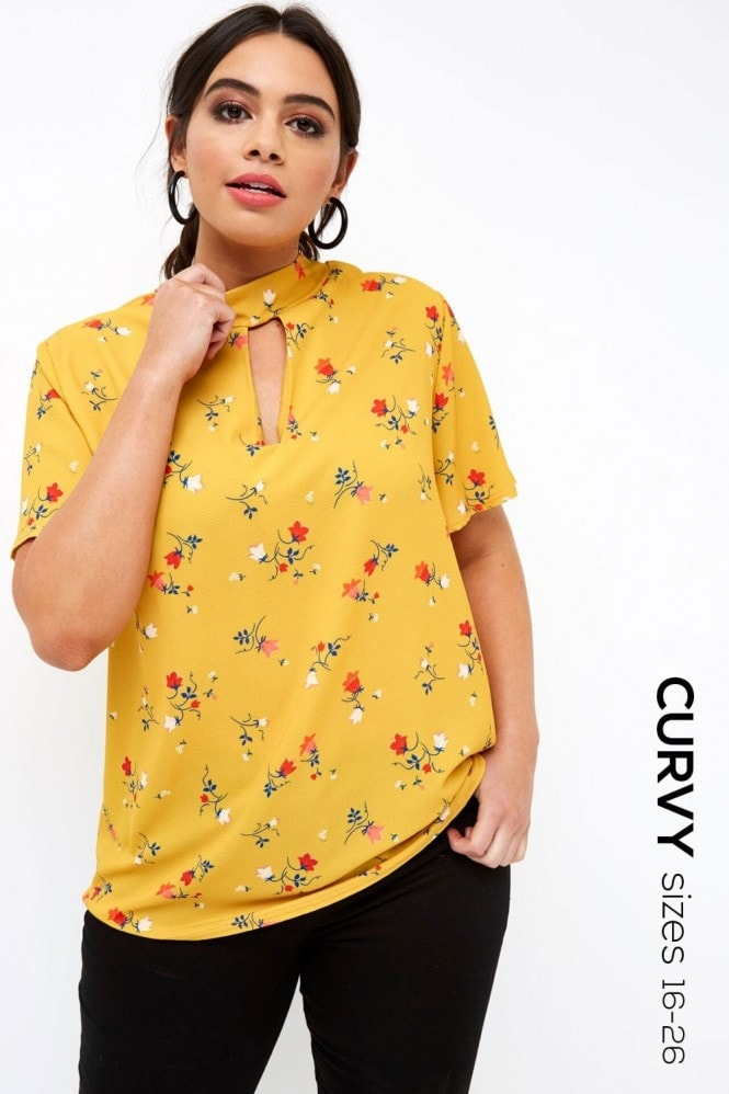 Girls on Film Mustard Print Top