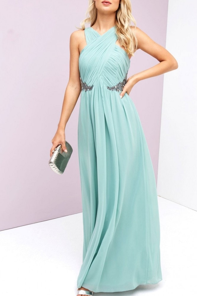 Green Ruched maxi