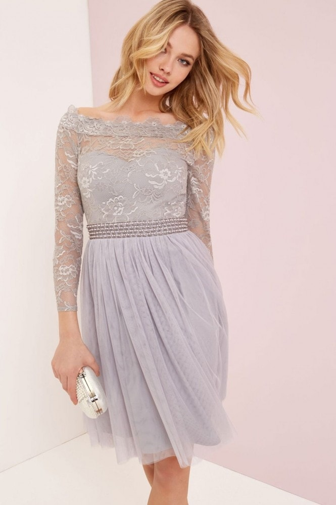 Little Mistress Grey Lace Mesh Prom