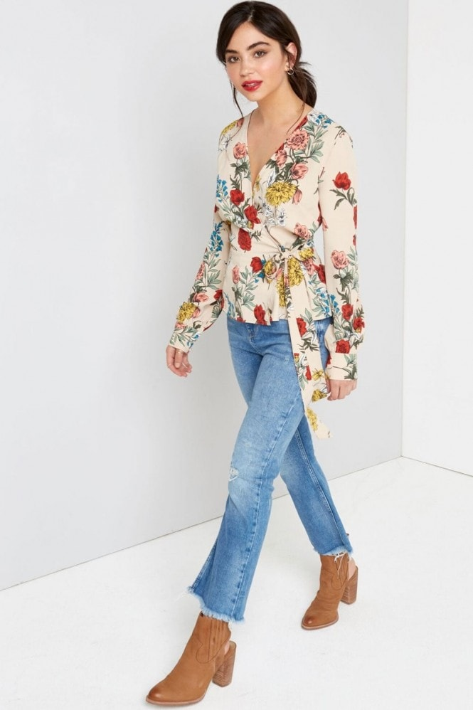 Outlet Girls On Film Print Wrap Top