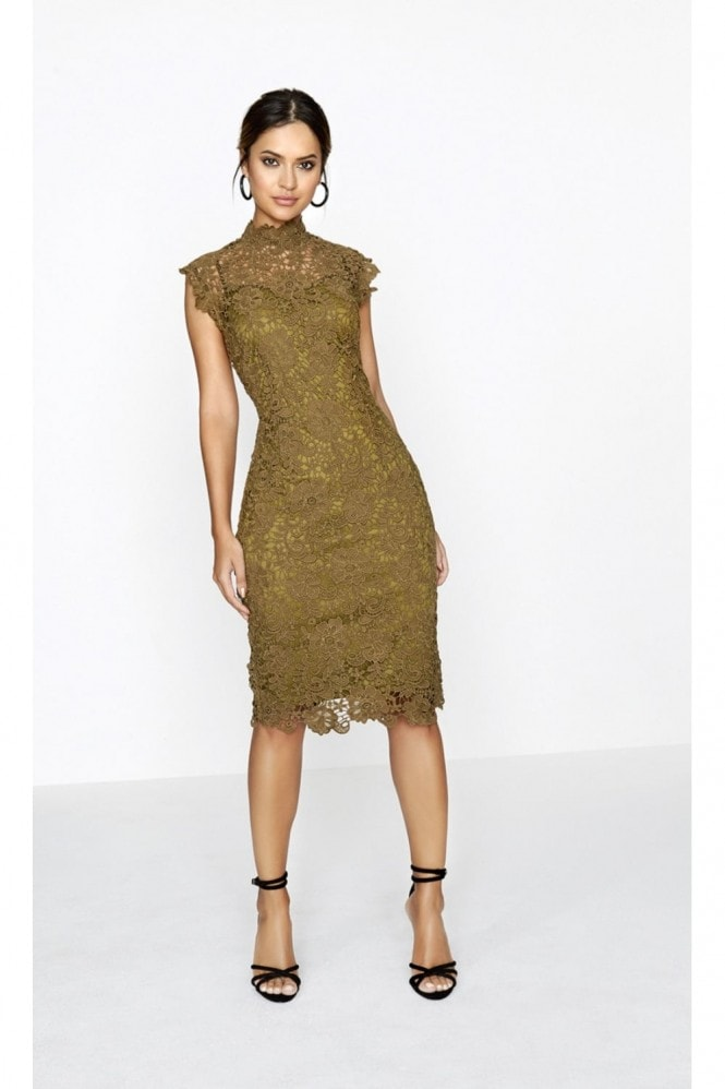 Paper Dolls Khaki Crochet Dress