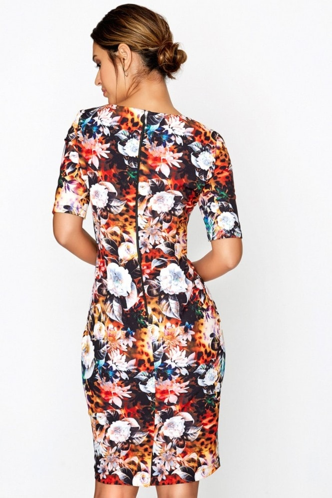Outlet Paper Dolls Print Bodycon Dress