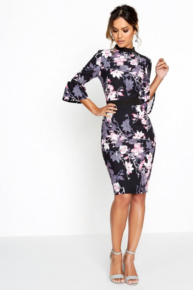 Paper Dolls Black Blossom Print Dress