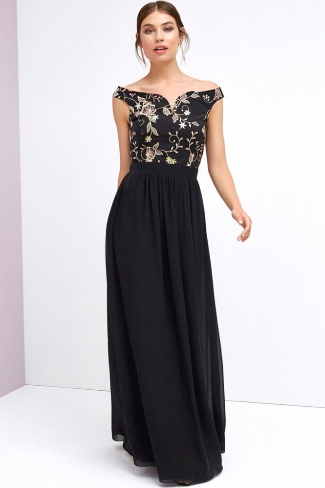 Little Mistress Black Bardot Maxi Dress