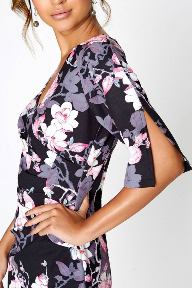 Paper Dolls Black Blossom Print Bodycon Dress