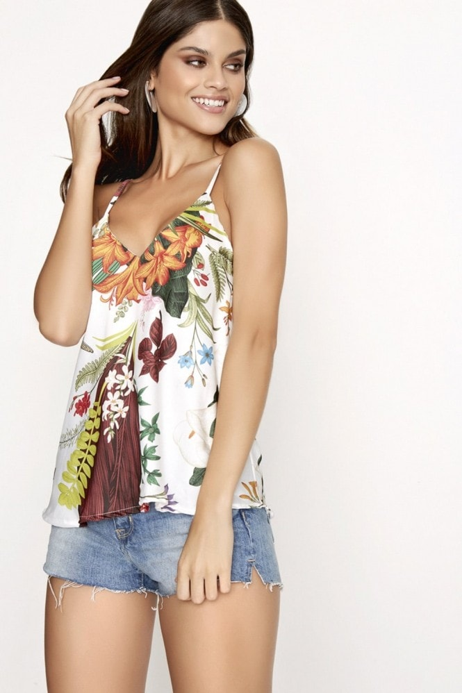 Girls on Film Floral Print Slip Top