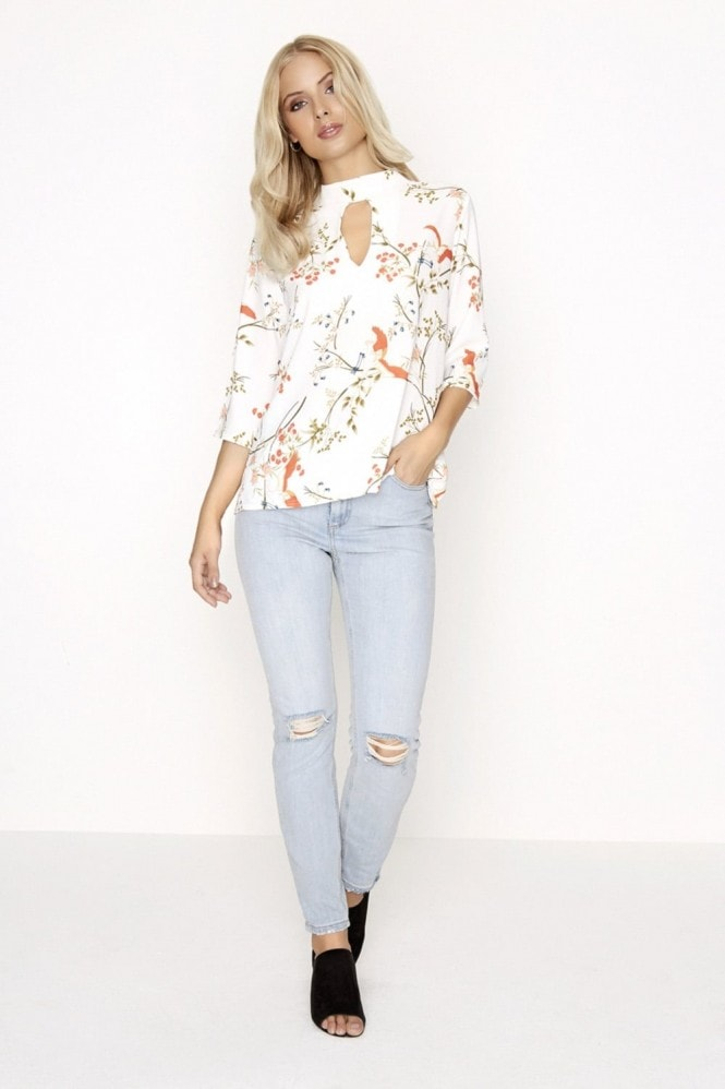 Outlet Girls On Film Botanical Print Choker Top