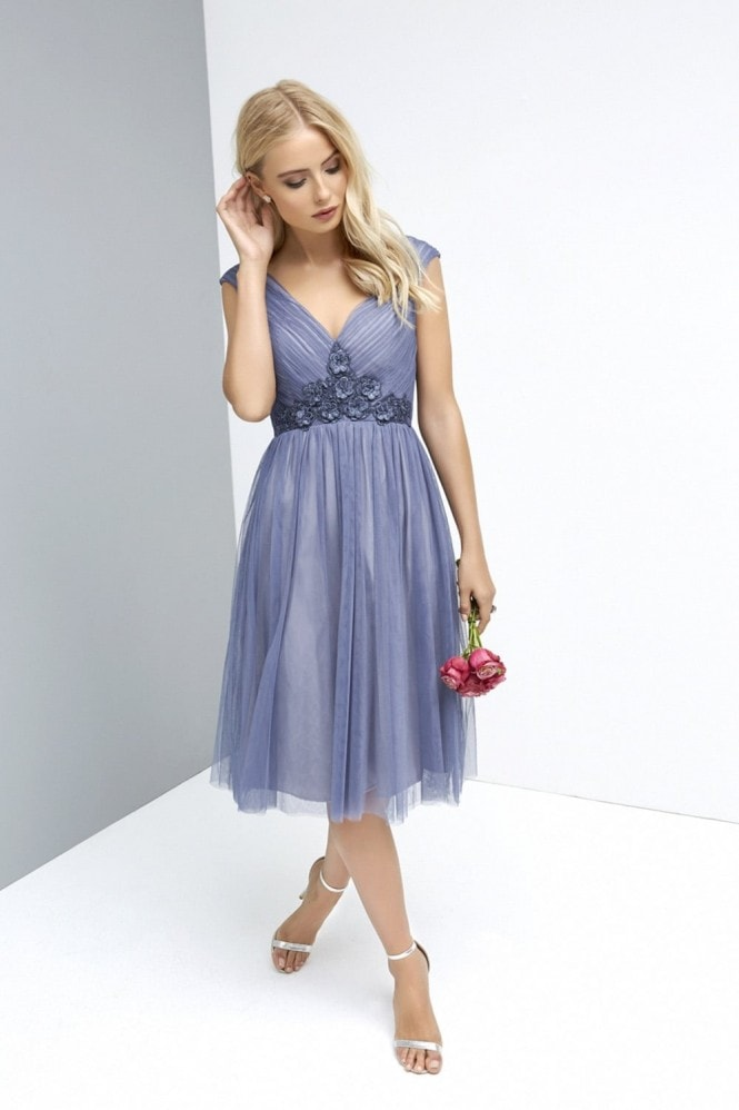 Little Mistress Lavender Mesh Midi Dress