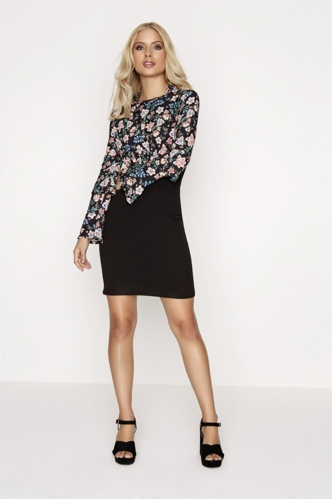 Girls on Film Print Sleeved Dress