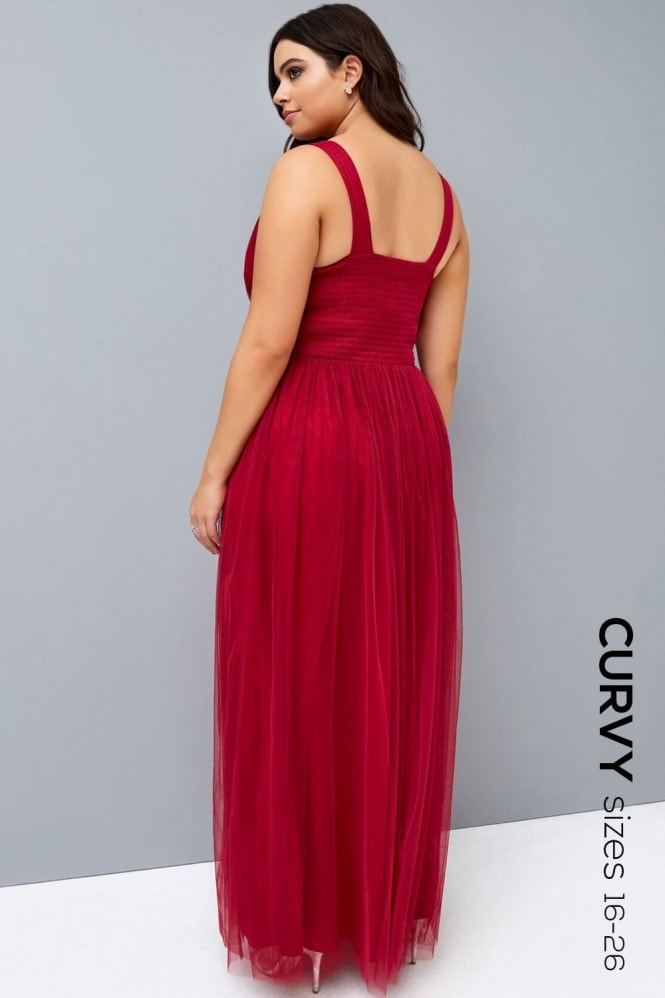 Little Mistress Curvy Berry Maxi Dress