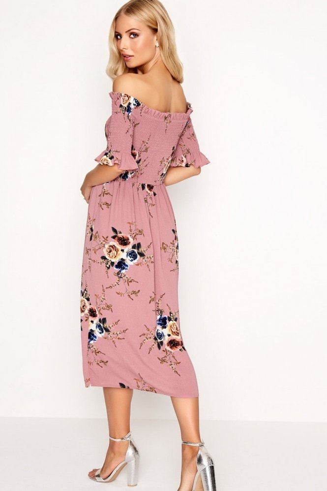 Girls on Film Rose Print Midi Dress