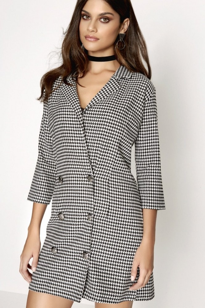 Outlet Girls On Film Dogtooth Mini Dress
