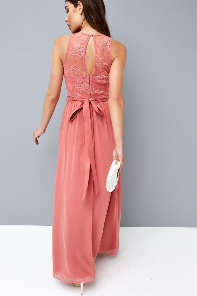 Little Mistress Rose Lace Maxi Dress