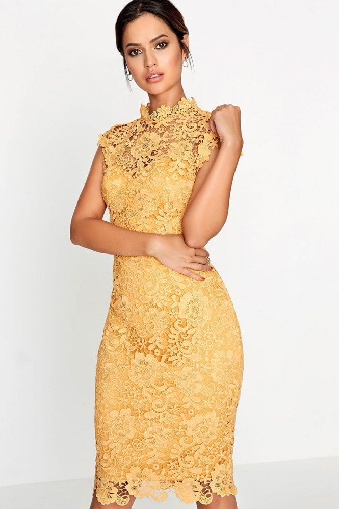 Paper Dolls Mustard Crochet Dress