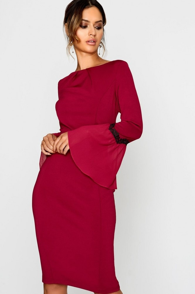 Outlet Paper Dolls Wine Bodycon Dress