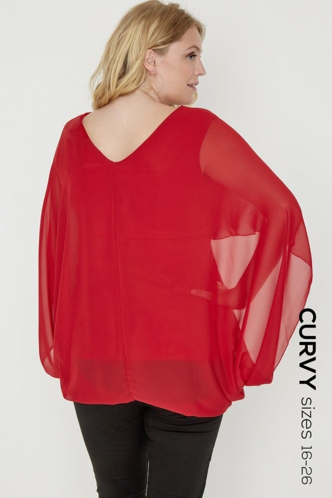 Outlet Girls On Film Red Kimono Top