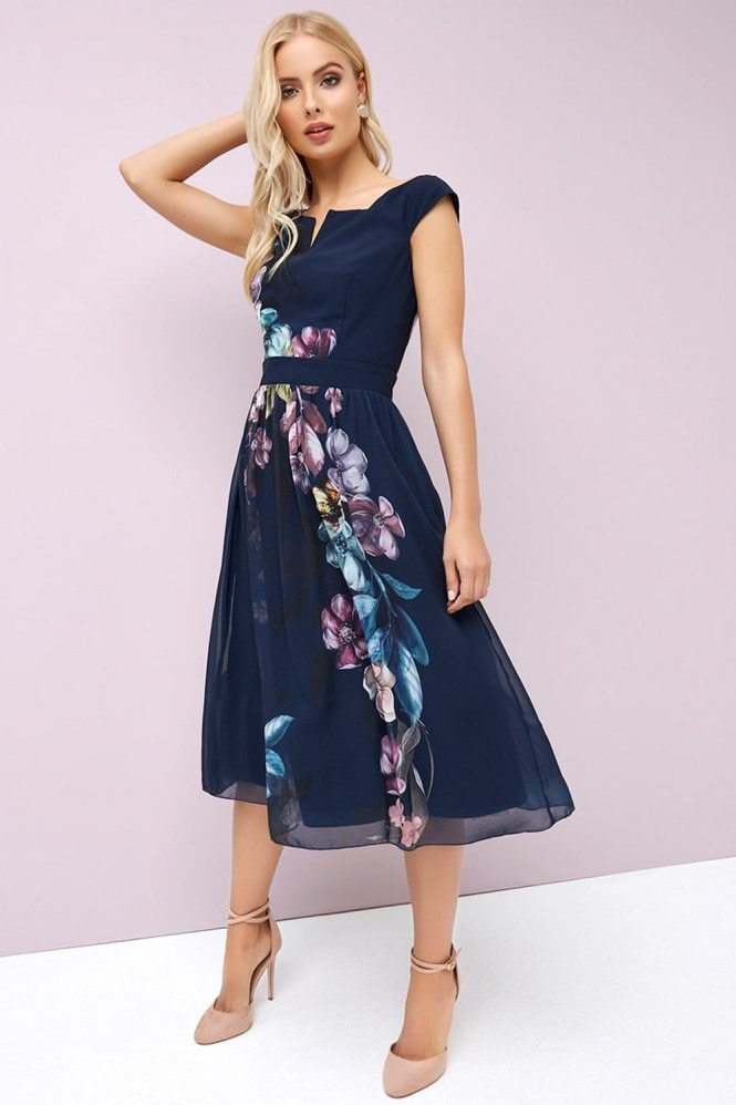 Little Mistress Navy Floral Prom