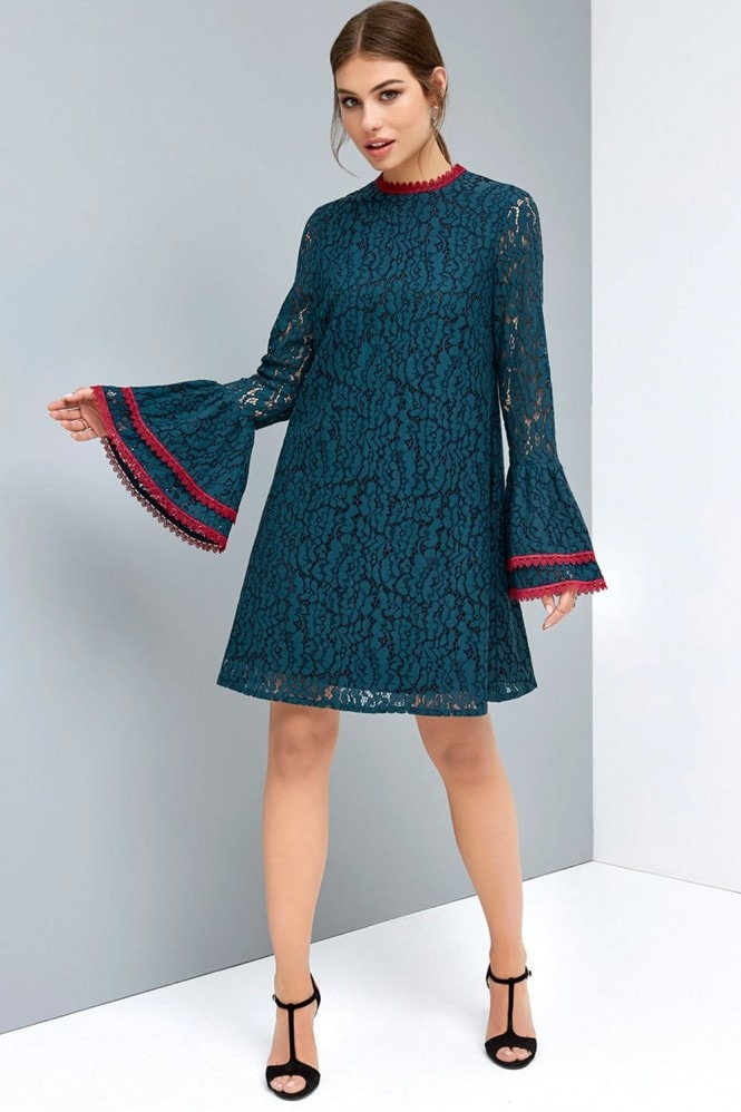 Peacock Lace Shift Dress