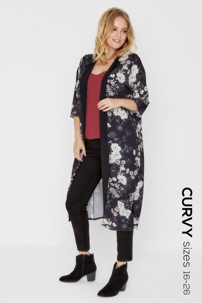 Outlet Girls On Film Oriental Print Collarless Coat