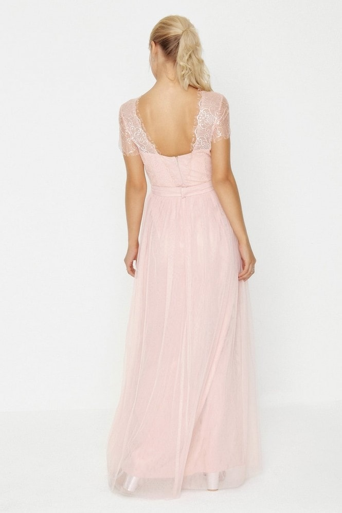 Little Mistress Pink Lace Overlay Maxi Dress